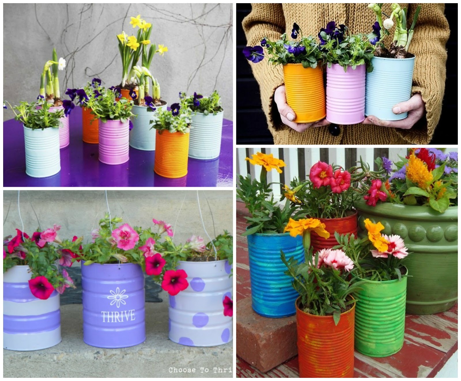 How To Repurpose & Decoupage Tin Can Planters
